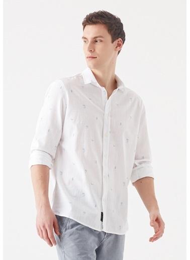 Mavi Palmiye Baskılı  Gömlek Beyaz